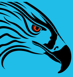 Head of eagle over blue vector