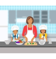 Mother and kids cooking together at kitchen flat vector