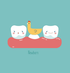 Newborn tooth concept of dental vector
