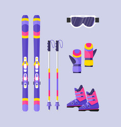 Pairs of skis poles boots gloves mask winter vector