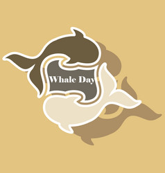 Paper sticker on theme save whales whale family vector