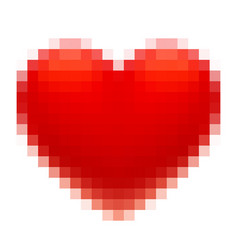 pixel art red heart isolated on white background vector image vector image