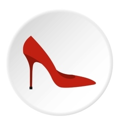 Red woman shoe icon flat style vector