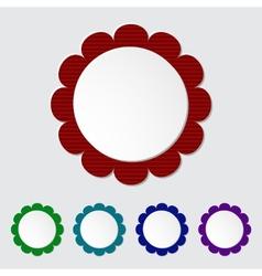 Set of modern round 3D paper labels vector image