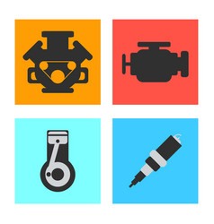 set of service car flat icon on white background vector image