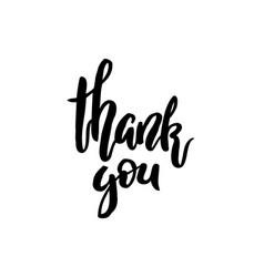 thank you handwritten inscription lettering vector image