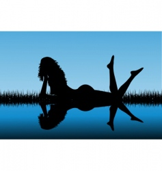 woman silhouette reflected on water vector image vector image