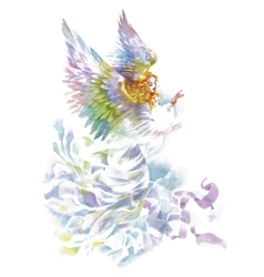 Beautiful angel with wings watercolor vector