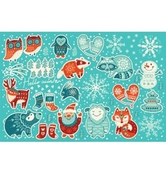 Collection of christmas stickers vector