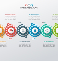 Business infographic template with gears 6 vector