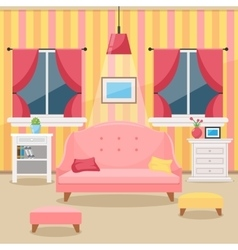 Living room with furniture cozy interior flat vector