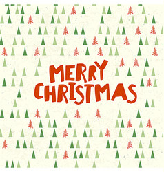 Merry christmas postcard xmas trees pattern vector