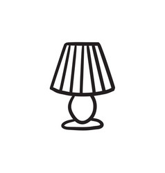 Table lamp sketch icon vector