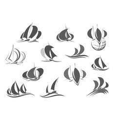 Sailing ship saleboat yacht travel icons vector