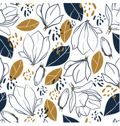 Graphic magnolia flowersbudsleaves and spots vector