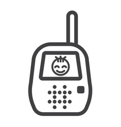 Baby monitor line icon mobile and child control vector
