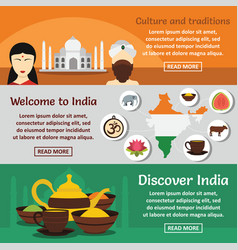 India travel banner horizontal set flat style vector