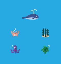 Flat icon marine set of tentacle tortoise alga vector