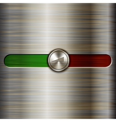 Volume control on the brushed steel background vector