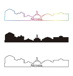 Nicosia skyline linear style with rainbow vector