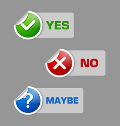 Yes no maybe stickers vector