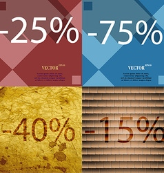 75 40 15 icon set of percent discount on abstract vector