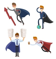 Superhero business man and woman in action vector