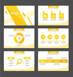 Yellow orange presentation templates infographic vector