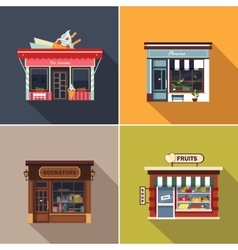 Stores and shop facades cute vector