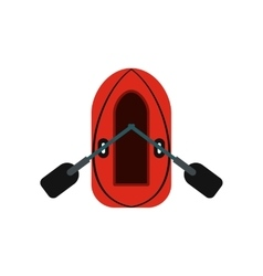 Red inflatable boat with oars icon vector