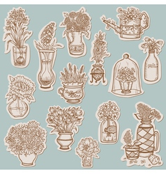Flower collection on tags vector