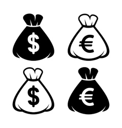 Money Bag Icon Set vector image