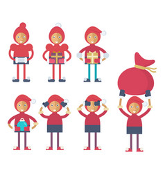 A funny christmas elf performing different actions vector