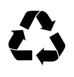 Black silhouette recycling symbol with arrows vector