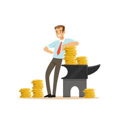 Businessman standing next to the anvil with gold vector