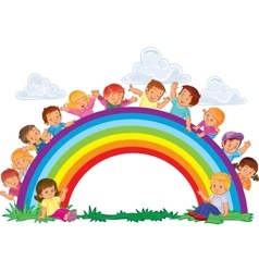 Carefree young children and rainbow vector