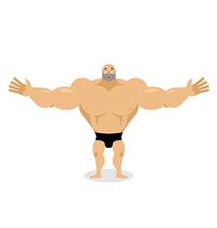 Cheerful muscled man cartoon vector