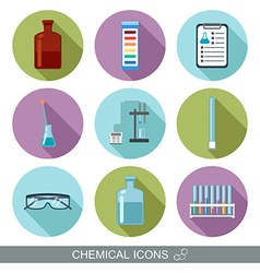 Chemical icons Flat design with shadows vector image vector image