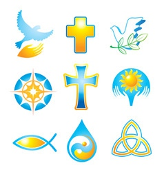 collection religious symbols vector image vector image