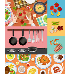 different ingredients and food on different vector image