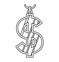 Dollar symbol icon outline style vector