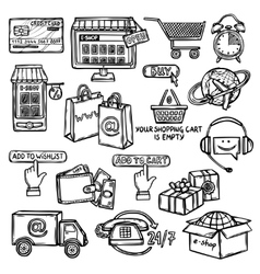 E-commerce icons set sketch vector image vector image
