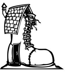 Fairytale shoe house vector