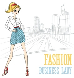 Fashion business girl in defense vector