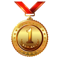 First placeaward medals set isolated on white vector