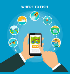 fishing area finder concept vector image vector image