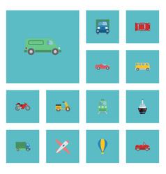 flat icons airship transport carriage and other vector image vector image