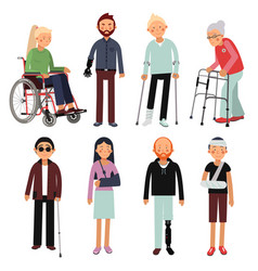 flat style set of disabled people in vector image