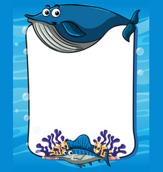 Frame template with blue whale vector