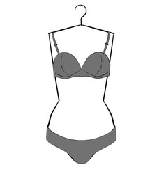 Gray underwear set hanging on a hanger eps10 vector
